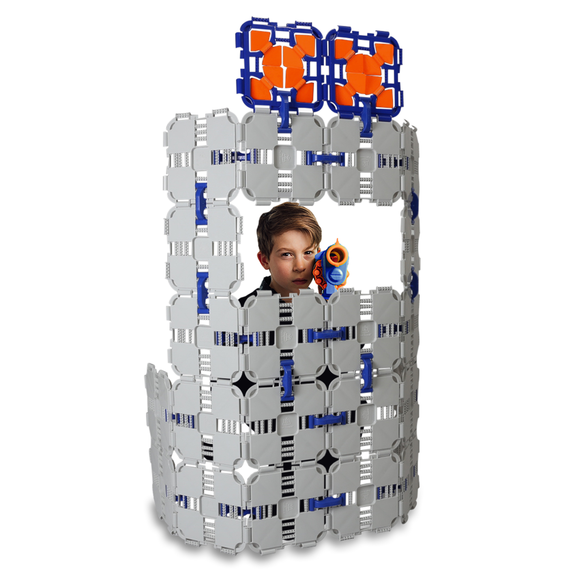 Battle Bunkers by Blaster Boards - Barricade Building & Target Practice Set, 46 Piece Kit