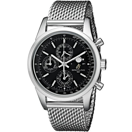 Breitling Men's 43mm Steel Bracelet & Case Automatic Black Dial Chronograph Watch A1931012-BB68 ()