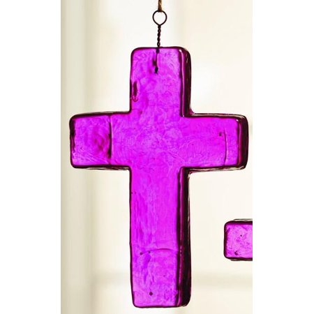 Large Dark Pink Glass Cross