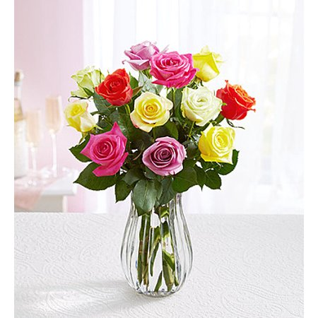 1 800 Flowers  Fresh Flowers   One Dozen Assorted Roses With Clear Vase