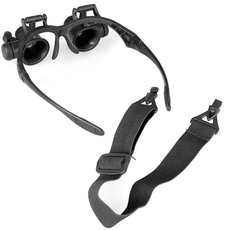 Magnifier With Light - Magnifying Glasses 10X 15X 20X 25X Eye Jewelry Watch Repair Magnifier Glasses With 2 LED Lights Microscope