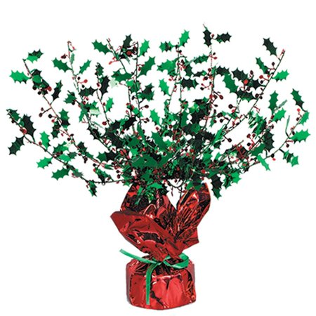 Club Pack of 12 Red and Green Metallic Gleam 'N Burst Holly Centerpiece Christmas Decorations - Christmas Centerpieces For Sale