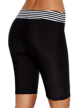 Women Knee-Length Swim Shorts Black Striped Plus Size Pants Bikini Trunks Tankini Bottoms Swimsuit Swimwear Beachwear Swimming Bathing Suit Black S