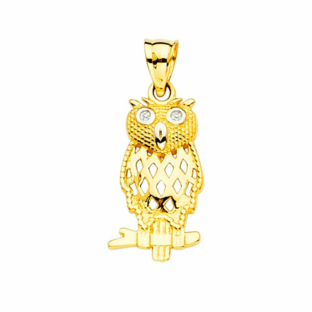 Mia Diamonds 14k Yellow Gold and Rhodium Diamond-cut Polished Moveable Owl Pendant
