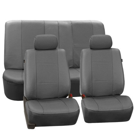 fh group gray deluxe faux leather airbag compatible and split bench car seat covers 2 headrest. Black Bedroom Furniture Sets. Home Design Ideas