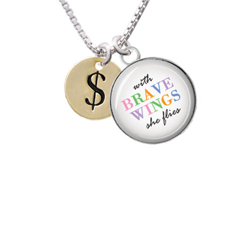 """Gold Tone Disc 1/2'' - Symbol - Dollar Sign - $ - Brave Wings Glass Dome Necklace, 18""""+2"""""""