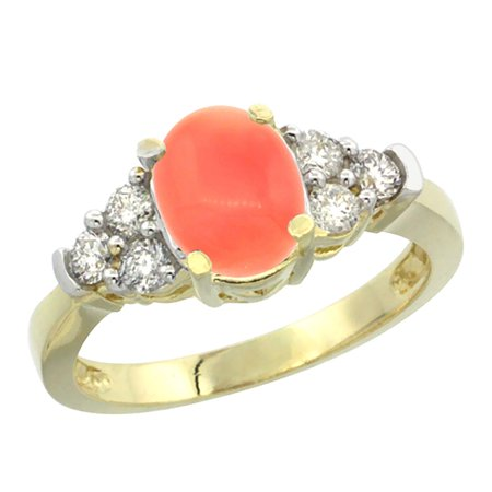 14K Yellow Gold Natural Coral Ring Oval 9x7mm Diamond Accent, size