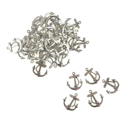 (Metal Nautical Anchor Charms, Silver, 3/4-Inch, 36-Count)