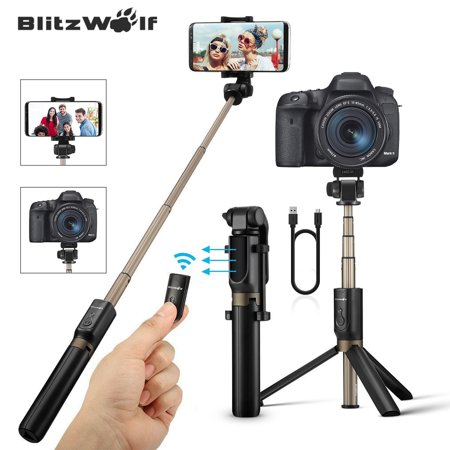 (BlitzWolf Portable Bluetooth Handheld Extendable Folding Tripod Monopod Selfie Stick with Remote Controller Shutter,for Sport Action Camera 3.5-6 inch Screen Smart Mobile Phone)