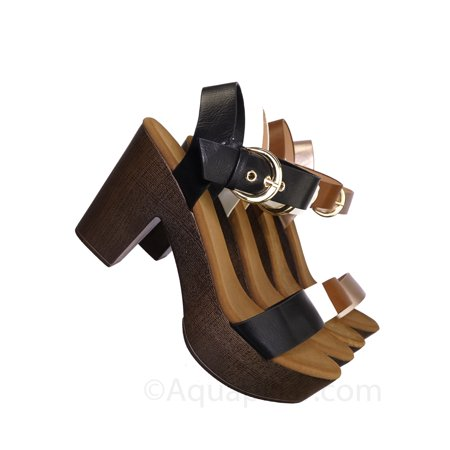 Melissa1 by Top Moda, Clog Block Heel Platform Sandal-Lightweight Open Toe Comfort Sandal