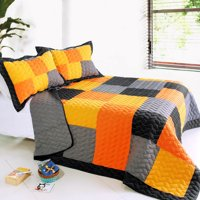 Mild Winter Cotton 3PC Vermicelli-Quilted Patchwork Quilt Set Full/Queen Size