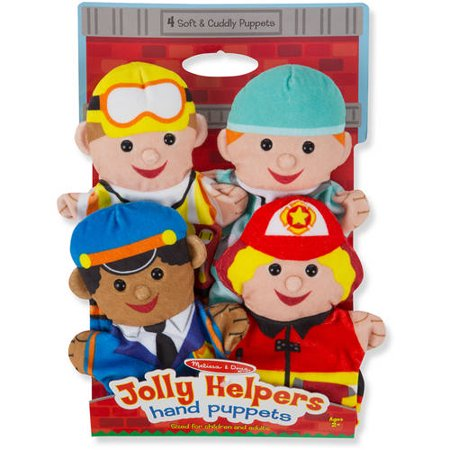 Melissa   Doug Jolly Helpers Hand Puppets  Set Of 4  Construction Worker  Doctor  Police Officer  And Firefighter