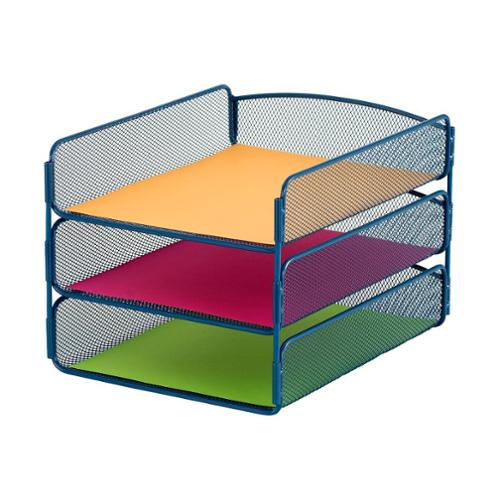 Safco Onyx Mesh Desktop Organizer with 5 Vertical/ 3 Horizontal Sections Blue