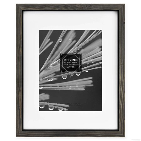 Timber Frame Builders - TIMBER Distressed Gray Black Wood 16x20 11x14 Matted Frame by MCS