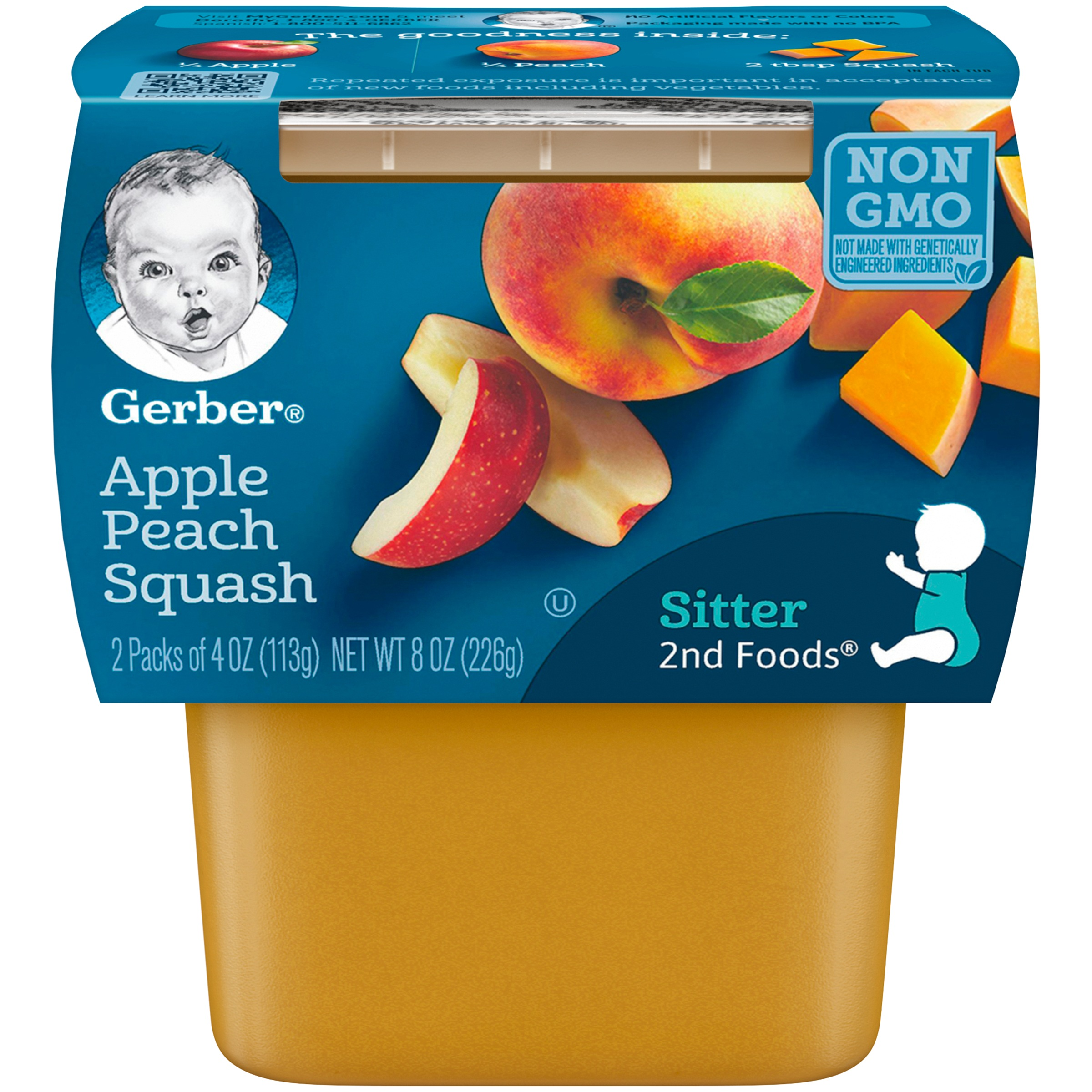 Gerber 2nd Foods Apple Peach Squash Baby Food, 4 oz. Tubs, 2 Count (Pack of 8)