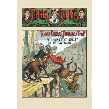 Three Chums Terrible Trip or Exploring Death Valley  A woman is rescued off a horse that has fallen off a train on a cliff face to a ravine below  In the 1890s victorian pulps were created  These were