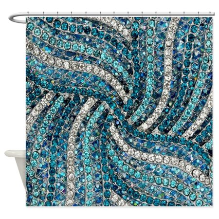 CafePress - Bohemian Swirls Teal Turquoise - Unique Cloth Shower Curtain ()