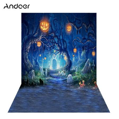 Andoer 1.5 * 2m Photography Background Backdrop Digital Printing Pumpkin Graveyard Pattern for Photo Studio (Graveyard Backdrop)