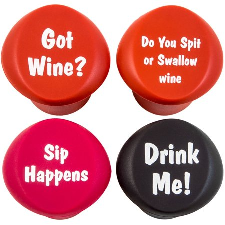 Funny Wine Stoppers - Four Silicone Reusable Corks