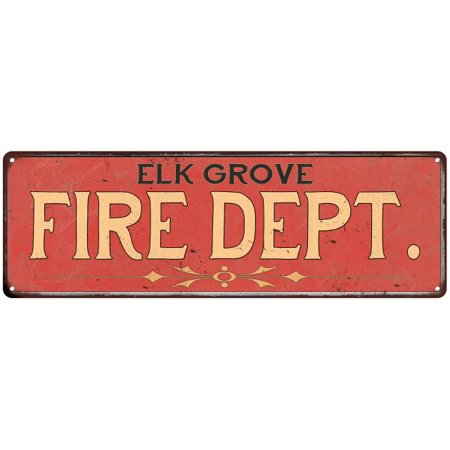 ELK GROVE FIRE DEPT. Home Decor Metal Sign Police Gift 8x24 108240013139 - Party City Elk Grove