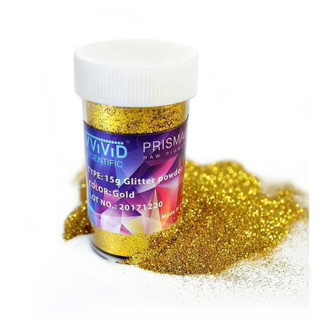 Raw Pigment Paint Additives Particles (2 Units) | Gold Metallic Glitter Pigment Powder 2 x 15g Jar | Non-Toxic Cosmetic Grade | Prisma65 (Powder Paint Party)