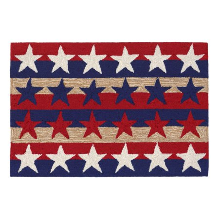 Liora Manne Frontporch 1804/14 Stars & Stripes Americ Area Rug 24 Inches X 36 Inches