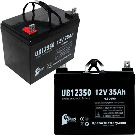 2x Pack - Pride JAZZY 1113 ATS Battery Replacement -  UB12350 Universal Sealed Lead Acid Battery (12V, 35Ah, 35000mAh, L1 Terminal, AGM, SLA)