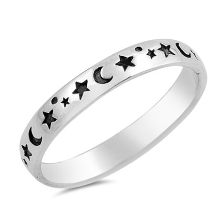 Oxidized Sterling Silver All Around Stars And Moon Ring