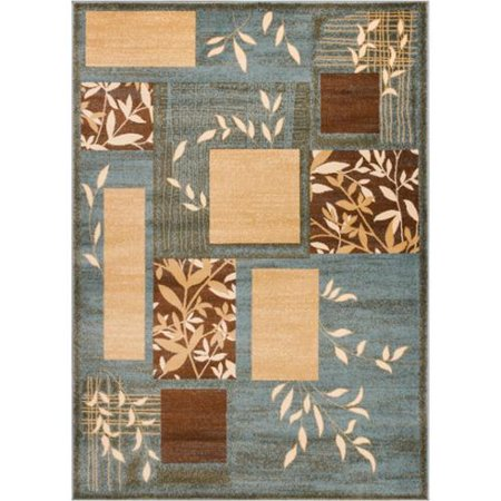 Well Woven  Amelia Light Blue Beige Brown Geometric Boxes Leaves Formal Plain Area Rug  710 X 910