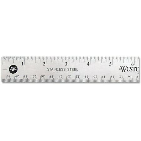 (3 Pack) Westcott Stainless Steel Office Ruler With Non Slip Cork Base, 12