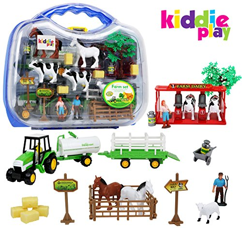 Kiddie Play Farm Set Toy for Kids with Animals Milking Station livestock Transporter and... by