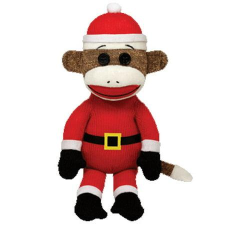 TY Beanie Baby - SOCK MONKEY (Santa - 8.5 inch)