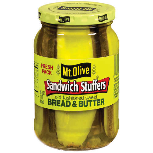 Mt. Olive Bread And Butter Old Fashioned Sandwich Stuffers Sweet Pickles, 16 fl oz