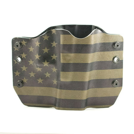 Outlaw Holsters: Green & Black USA Flag OWB Kydex Gun Holster for Ruger  American with Rail, Right Handed