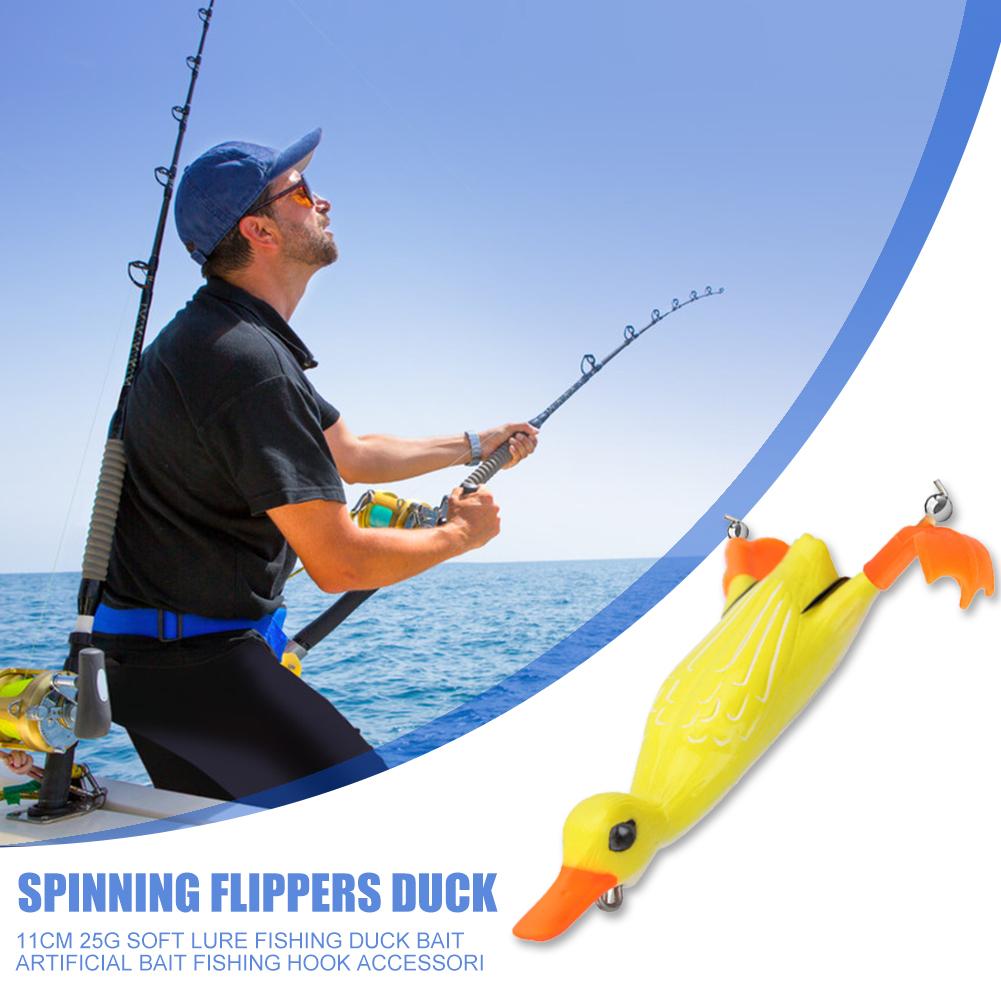 11cm 25g Topwater Duck Soft Fishing Lure Plopping Splashing Feet Frog Bait #Z