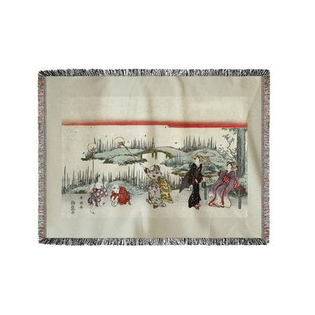 Catching Fireflies Japanese Wood-Cut Print (60x80 Woven Chenille Yarn Blanket)](Fireflies Boutique)