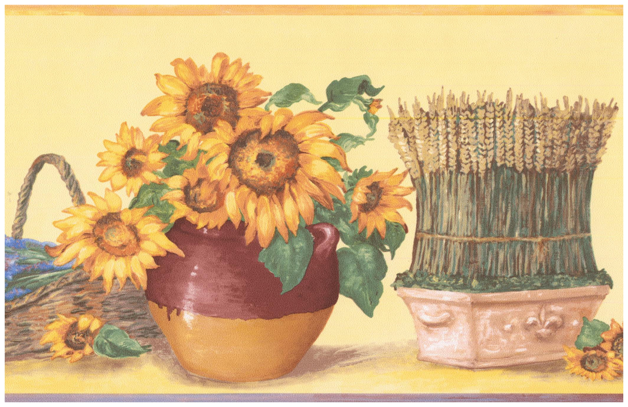 Prepasted Wall Border - Sunflower in Pots Lavender Bunch ...