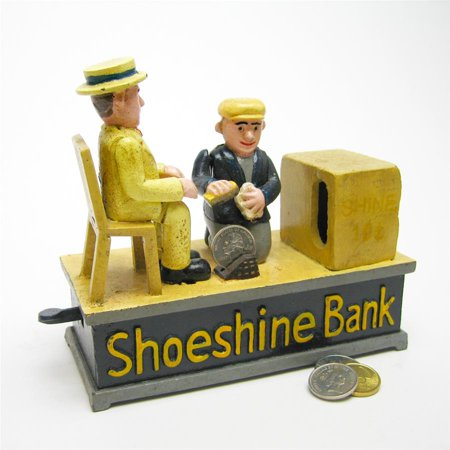 Shoe Shine Collectors Die Cast Iron Mechanical Coin Bank