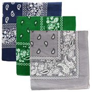 Kaiser Novelty Bandanas Paisley Cotton Bandanas Single Pack (3 PACK Navy+Green+Gray)