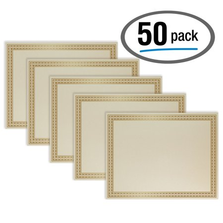 Foil Print Paper - 50 Sheet Award Certificate Paper, Gold Foil Metallic Border, Ivory Letter Size Blank Paper, by Better Office Products, Diploma Certificate Paper, Laser and Inkjet Printer Friendly, 8.5 x 11 Inches
