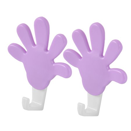 2pcs Plastic Palm Shaped Self Adhesive Bathroom Wall Glass Tiles Sticky Hooks