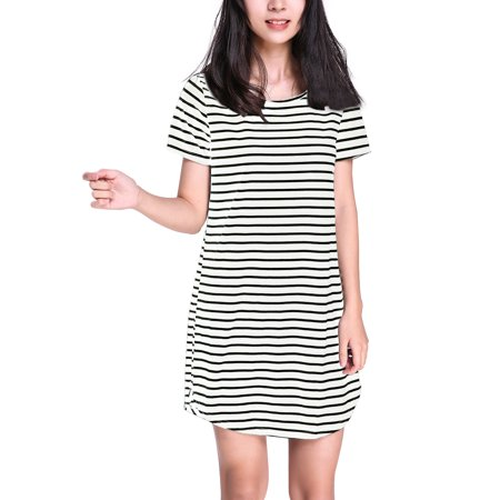 ZANZEA Womens Striped Short Sleeve Round Neck Mini Dresses