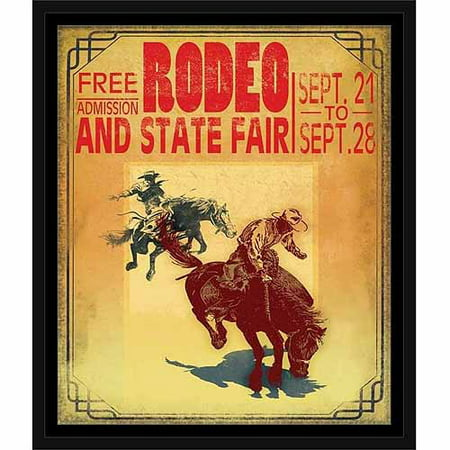 Old Vintage Rodeo Poster Sign Western Cowboy Horse Ride Yellow & Red, Framed Canvas Art by Pied Piper Creative - Western Frame