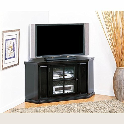 Beau Rubbed Black 46 Inch Corner TV Stand U0026 Media Console Features Storage For  Multiple Components