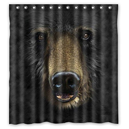 HelloDecor Black Bear Shower Curtain Polyester Fabric Bathroom Decorative Curtain Size 66x72 Inches