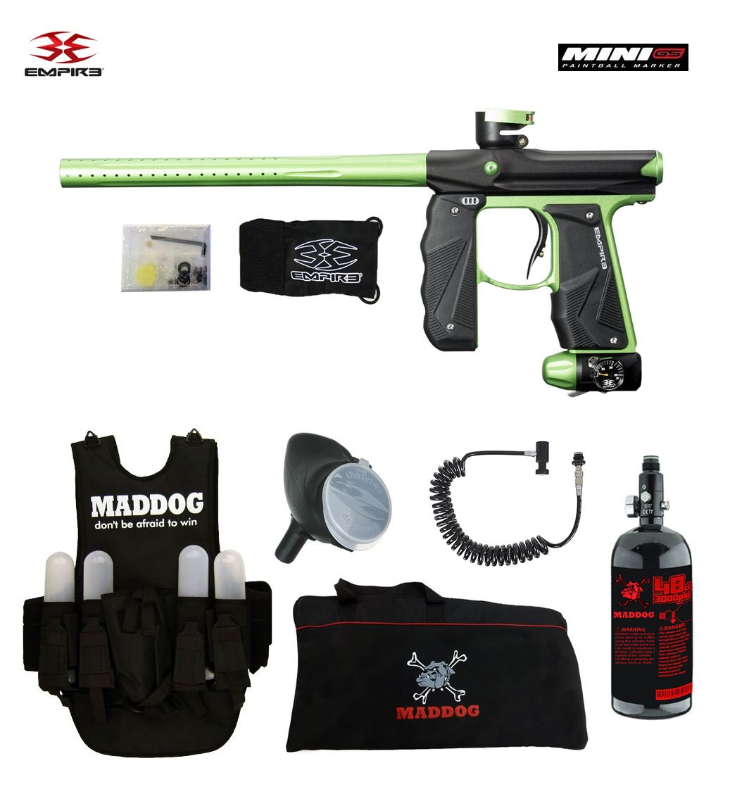 Empire Mini GS Lieutenant HPA Paintball Gun Package Black   Neon Green by
