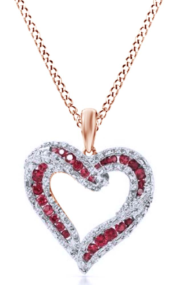 Simulated Ruby & White Sapphire Cubic Zirconia Heart Shaped Pendant Necklace & Chain In 14k Rose Gold Over Sterling... by Jewel Zone US