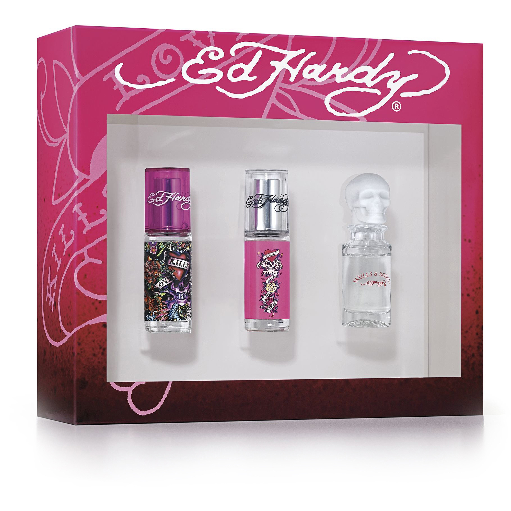 Ed Hardy Variety 3 Pc Gift Set ( Eau De Parfum Spray 0.25 Oz Of Ed Hardyhearts & Daggers   Skulls & Roses ) for Women by Christian Audigier