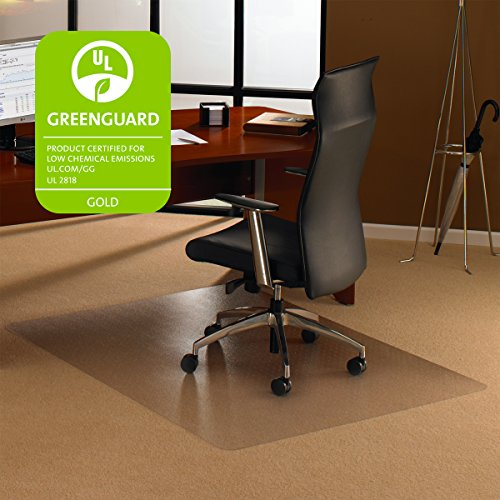 "Cleartex 1115223ER UltiMat Polycarbonate Chair Mat for Low/Medium Pile Carpets to 1/2"" Thick, 60"" x 48"", Clear"