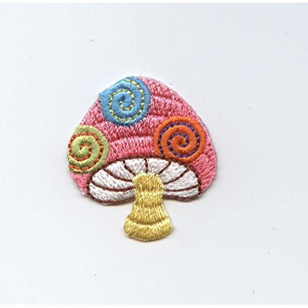 Small - Colorful Mushroom - Iron On Embroidered/Applique